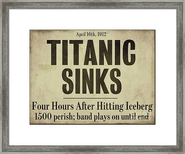Titanic Newspaper Headline Framed Print