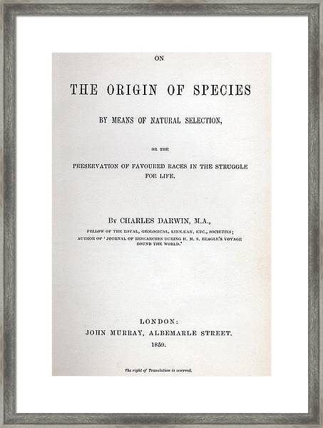Title Page Of The Origin Of Species By Charles Darwin Framed Print