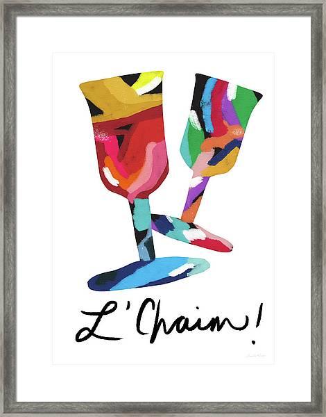 To Life Wine Glasses- Art By Linda Woods Framed Print