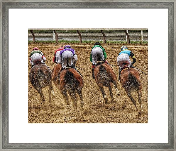 To The Finish Framed Print