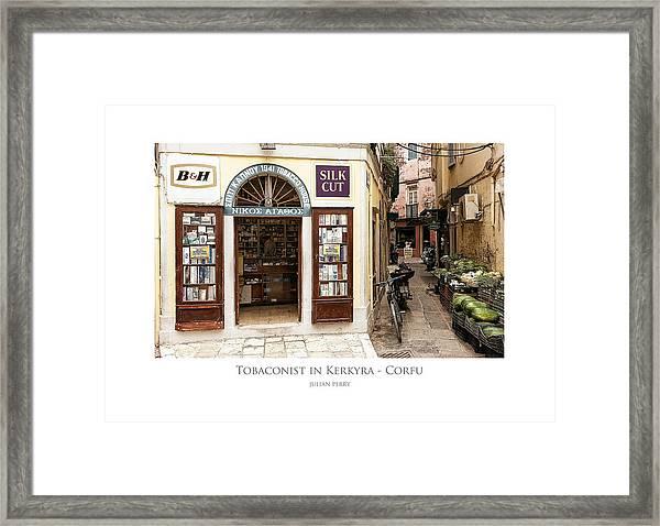 Tobaconist In Kerkyra - Corfu Framed Print