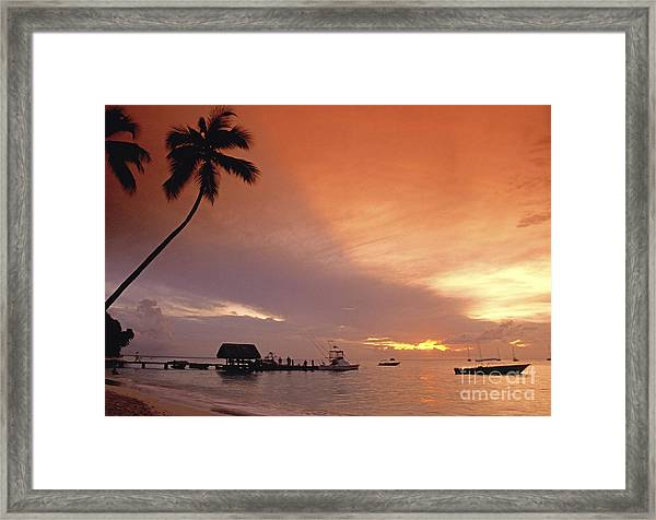 Framed Print featuring the photograph Tobago, Pigeon Point Sunset, Caribbean Sea, by Juergen Held