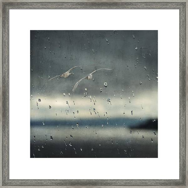 Together In The Rain Framed Print