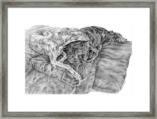 Togetherness - Greyhound Dog Art Print Framed Print