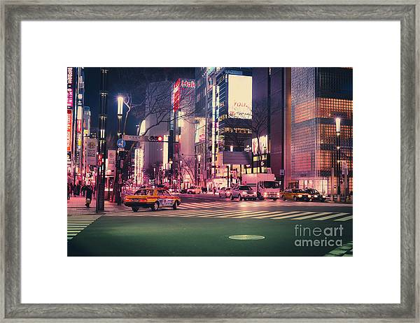 Tokyo Street At Night, Japan 2 Framed Print