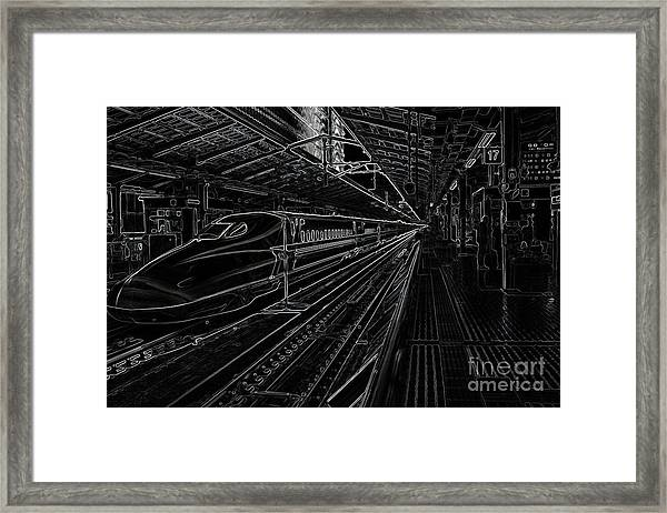 Tokyo To Kyoto, Bullet Train, Japan Negative Framed Print