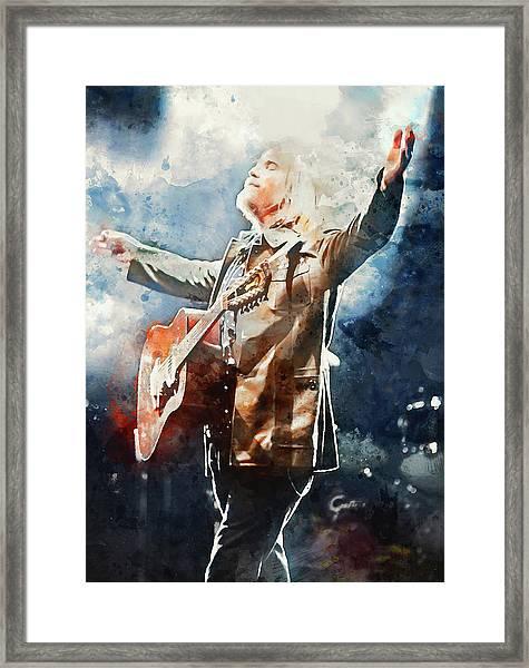 Tom Petty - Watercolor Portrait 13 Framed Print