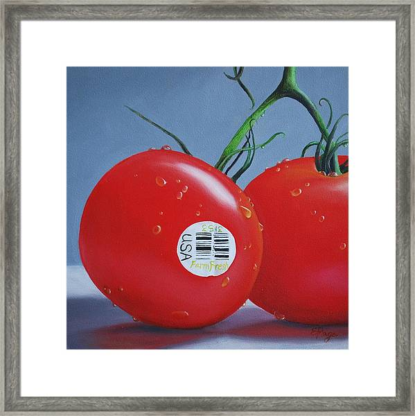 Tomatoes With Sticker Framed Print