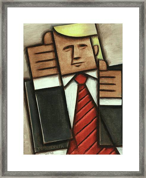 Tommervik Abstract Donald Trump Thumbs Up Painting Framed Print