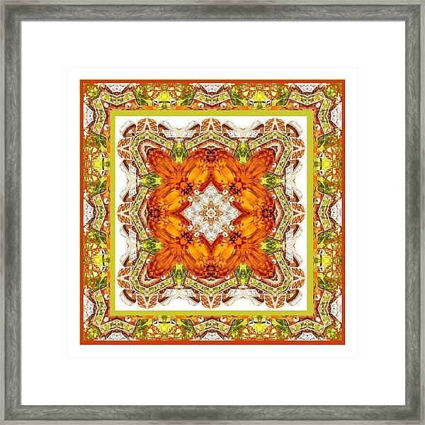 Topaz And Peridot Bling Kaleidoscope Framed Print