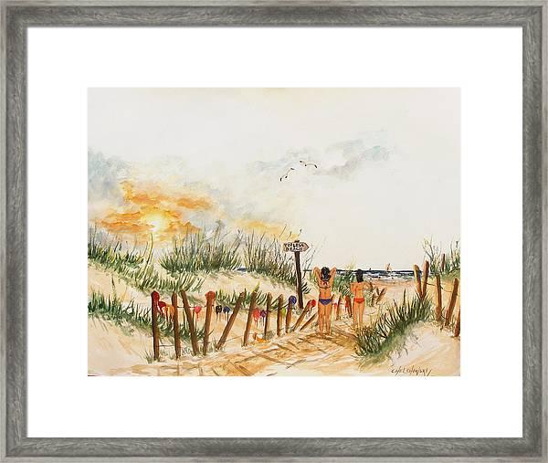 Topless Beach Framed Print
