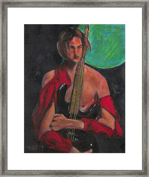 Torn Blues In Red Framed Print