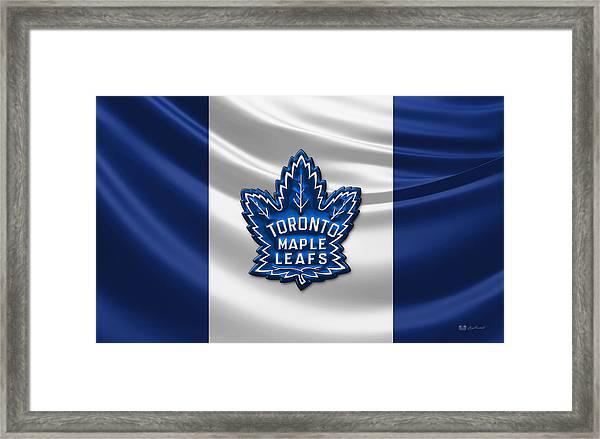 Toronto Maple Leafs - 3d Badge Over Flag Framed Print