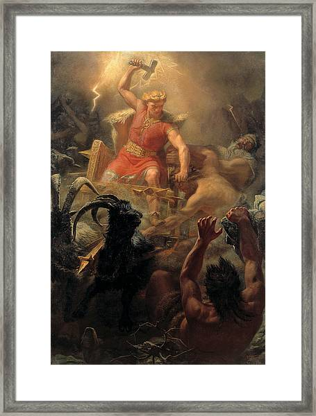 Tor's Fight With The Giants Framed Print