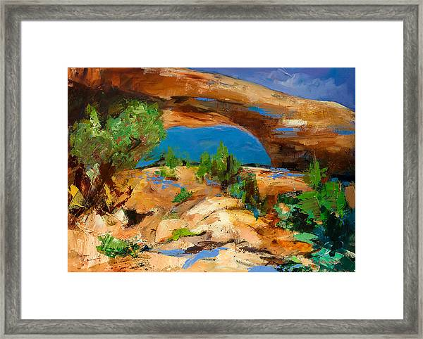 Framed Print featuring the painting Toward The Arch  by Elise Palmigiani