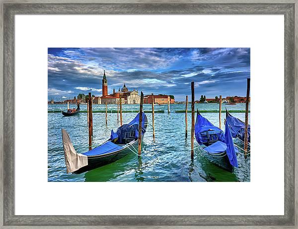 Gondolas And San Giorgio Di Maggiore In Venice, Italy Framed Print