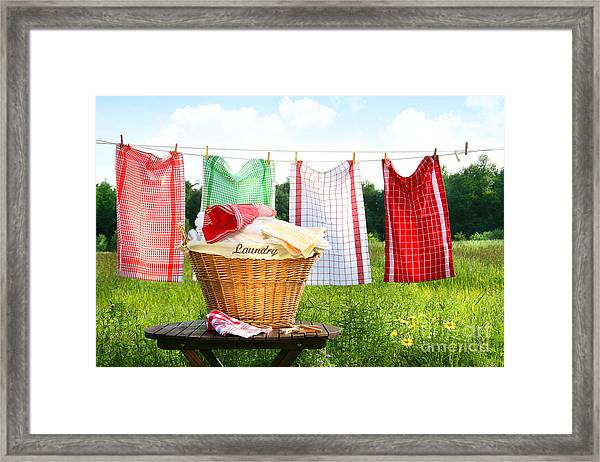 Towels Drying On The Clothesline Framed Print