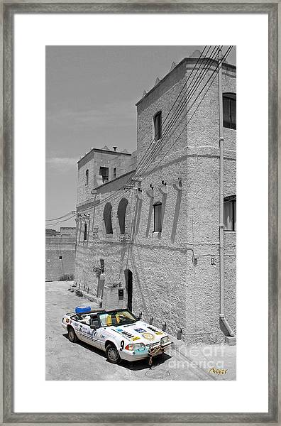 Tower And Car Framed Print by Sascha Meyer