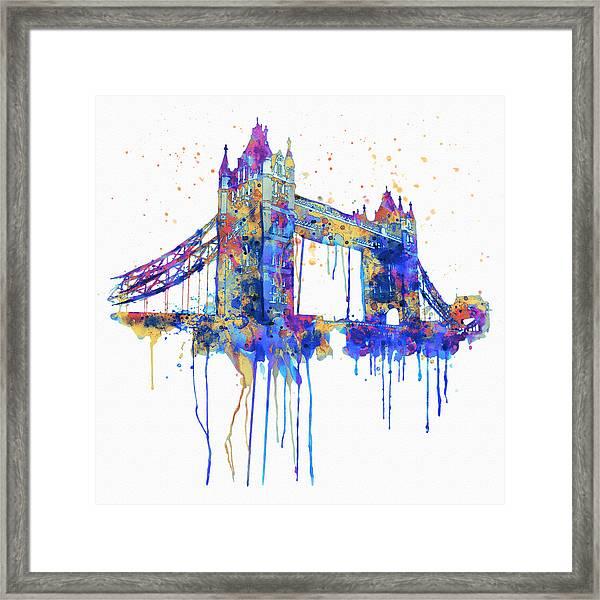 Tower Bridge Watercolor Framed Print