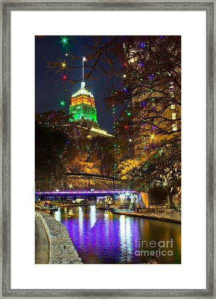 Tower Life Riverwalk Christmas Framed Print