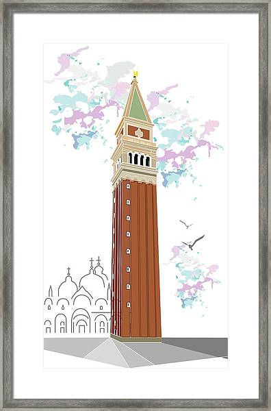 Tower Of Campanile In Venice Framed Print