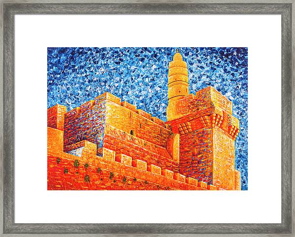 Tower Of David At Night Jerusalem Original Palette Knife Painting Framed Print