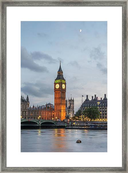 Tower Of London In The Moonlight Framed Print