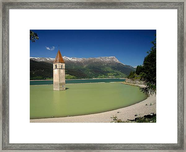 Tower Of Resia Framed Print by Sascha Meyer