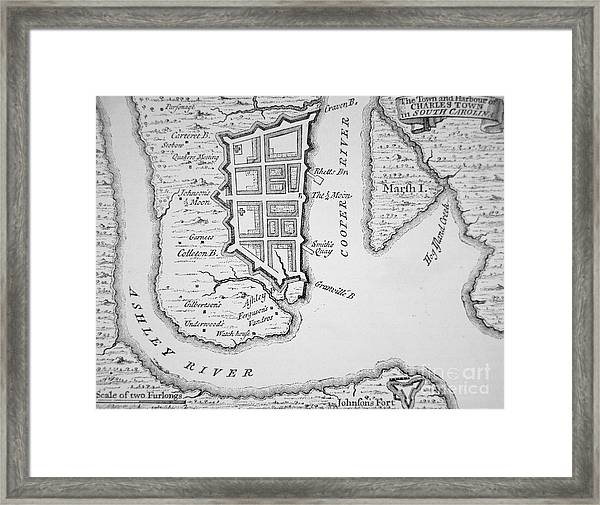 Town And Harbor Of Charleston South Carolina Framed Print