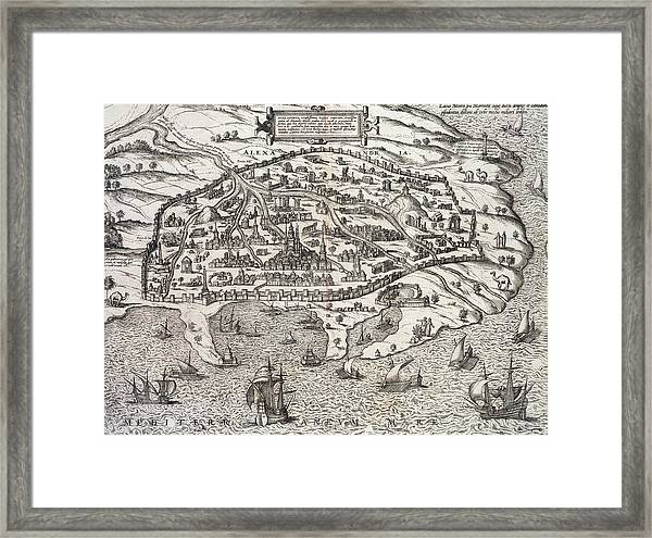 Town Map Of Alexandria In Egypt Framed Print