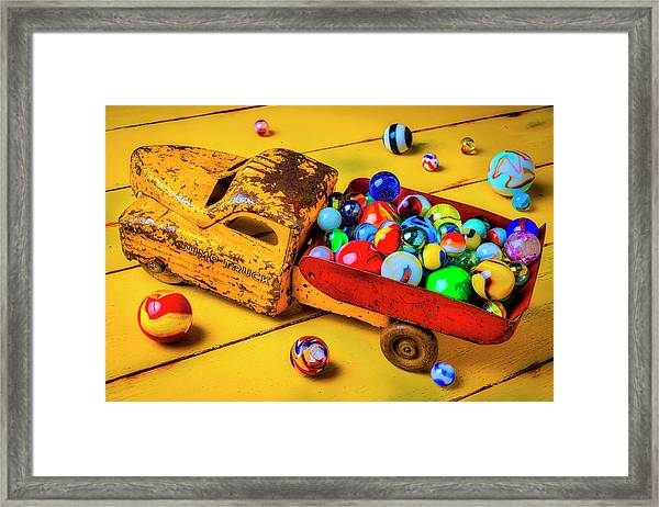 Toy Dump Truck With Marbles Framed Print