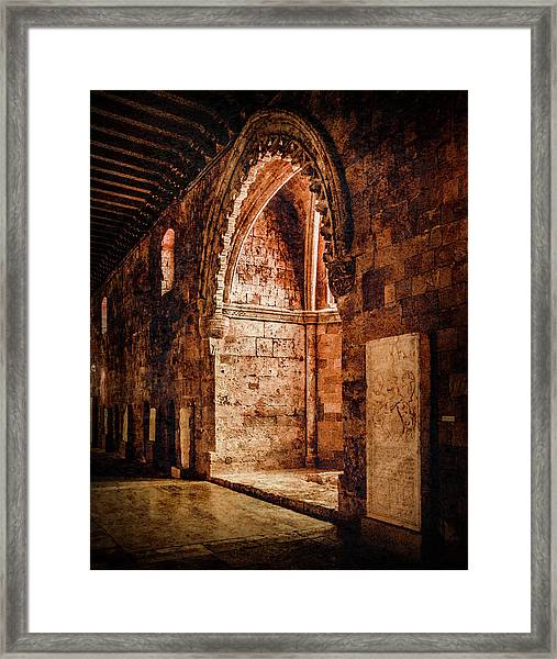 Framed Print featuring the photograph Rhodes, Greece - Traced Arch by Mark Forte