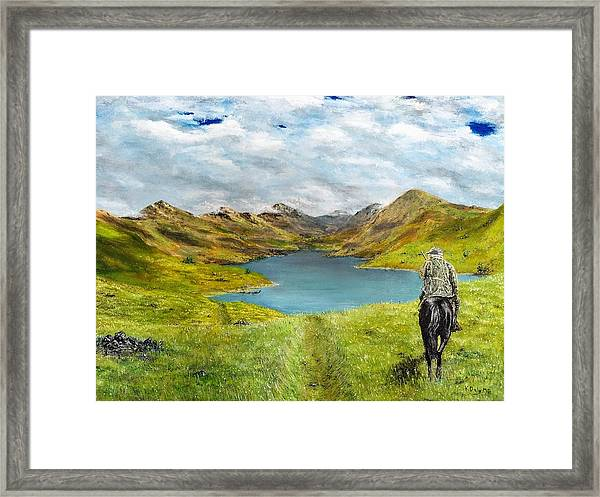 Framed Print featuring the painting Tracking Niseag by Kevin Daly