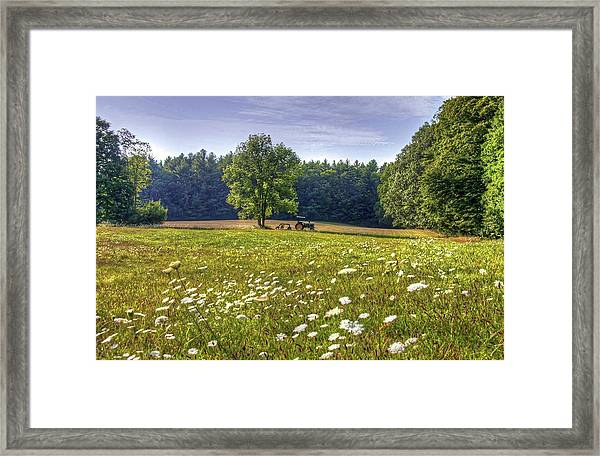 Tractor In Field With Flowers Framed Print