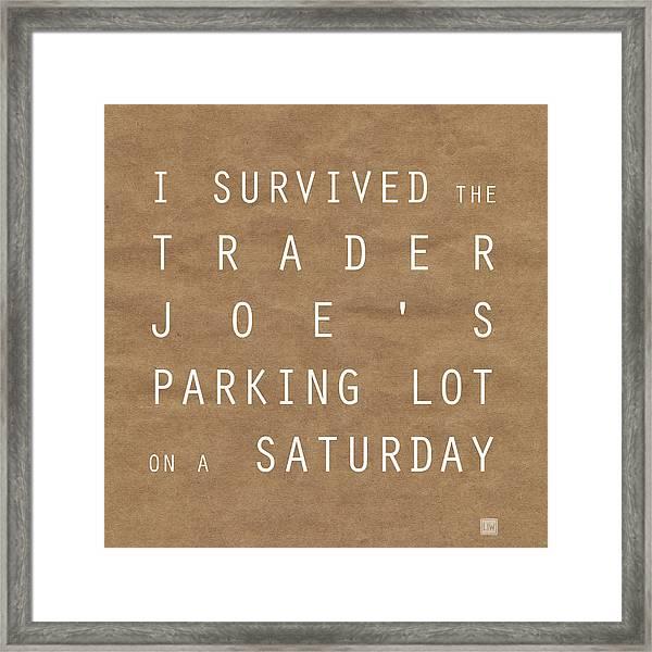 Trader Joe's Parking Lot Framed Print