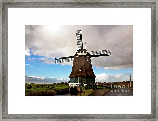 Traditional Dutch Windmill Near Volendam  Framed Print