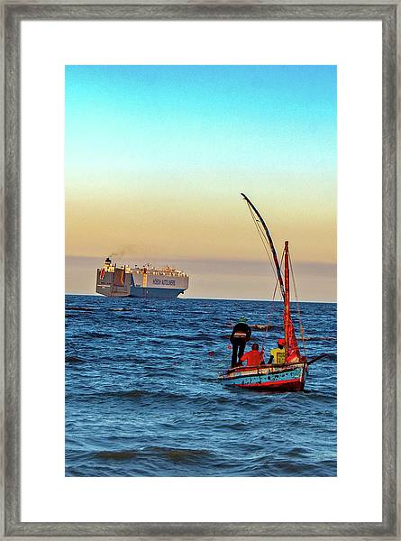Traditional Fishing And The Container Ship Framed Print