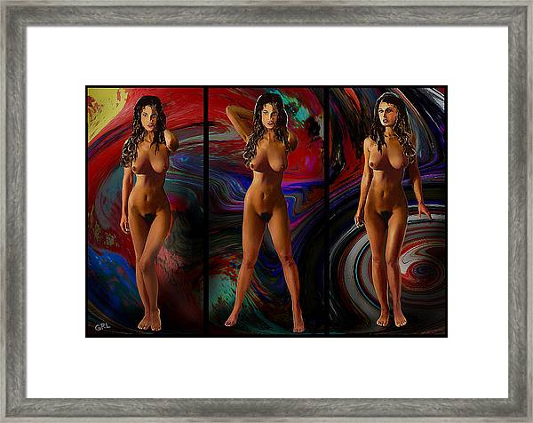 Traditional Modern Female Nude Jean Standing Triptic Framed Print