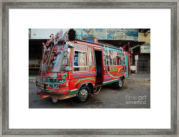Traditionally Decorated Pakistani Bus Art Karachi Pakistan Framed Print