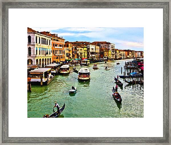Traghetto, Vaporetto, Gondola  Framed Print