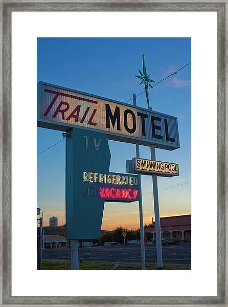 Trail Motel At Sunset Framed Print