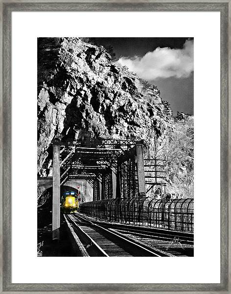 Framed Print featuring the photograph Train At Harpers Ferry by Williams-Cairns Photography LLC