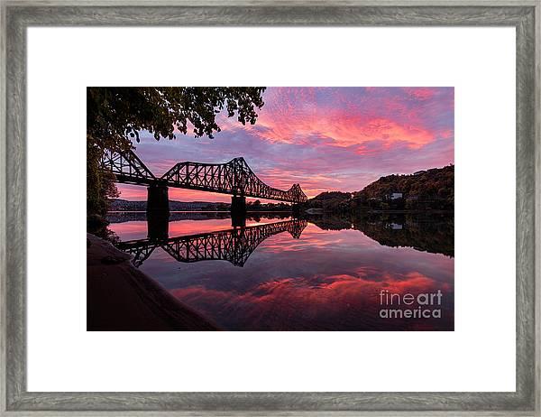 Train Bridge At Sunrise  Framed Print