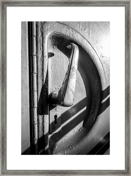 Train Door Handle Framed Print
