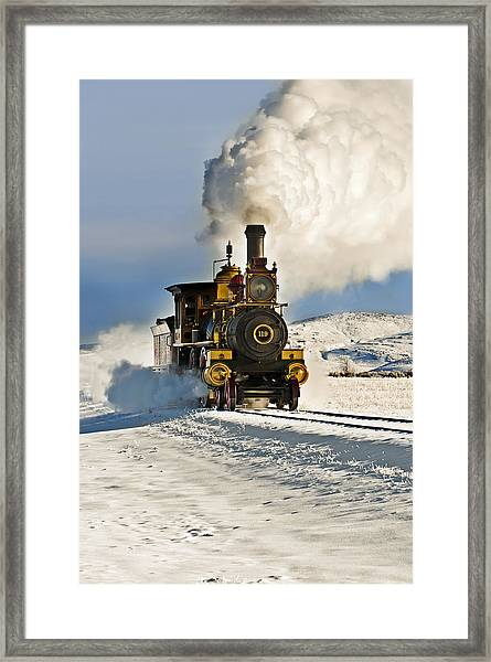 Train In Winter Framed Print