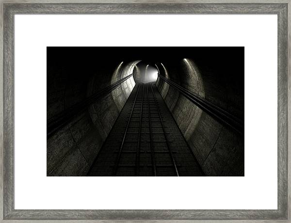 Train Tracks And Approaching Train Framed Print by Allan Swart