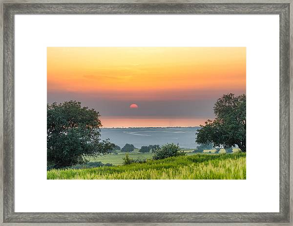 Sicilian Countryside At Sunset Framed Print