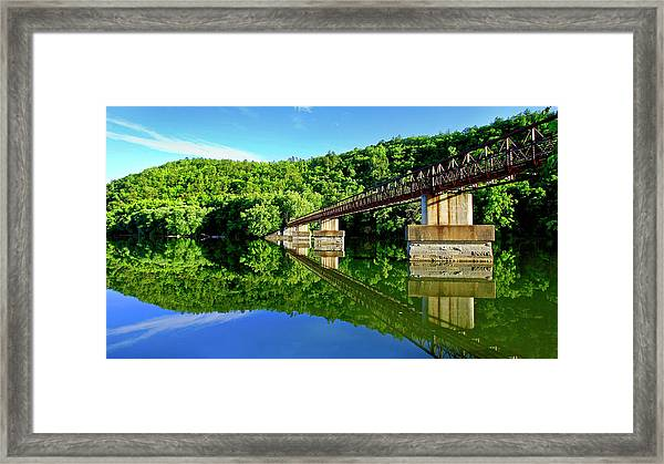 Tranquility At The James River Footbridge Framed Print