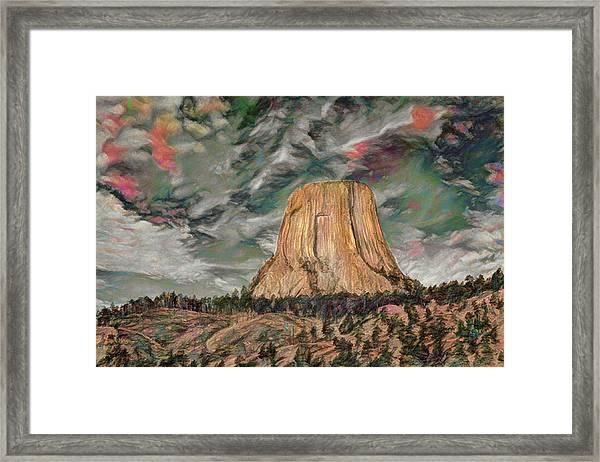 Transcendental Devils Tower Framed Print