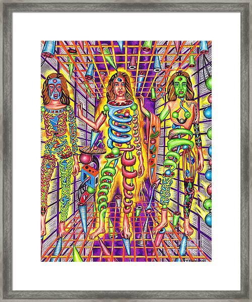 Transcendental Junction Of A Cosmic Grotto Framed Print